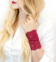 Burgundy Lace Wrist Cuff Bracelet by ForgottenCotton Adding a little lace to your day. This girly stretch lace wrist cuff is perfect oh so adorable accessory. Dressed up or down, covering a tattoo, or worn for a splash of lace- it is versatile, cute, and sure to get tons of compliments. Pair with one of our bow cuffs for the complete look! Why we love it: Our cuffs are made to be versatile. Perfect worn straight or scrunched up. ♥♥♥♥♥♥♥♥♥♥♥♥♥♥♥♥♥♥♥♥♥♥♥♥♥♥♥♥ See our full selection of cuffs…