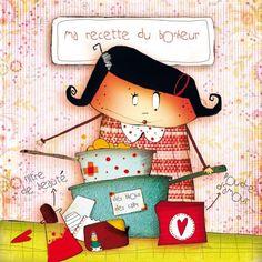 """Morgane Devillers carte postale carrée (14cm) """"Ma recette du bonheur"""""""