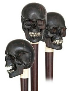 112 ca. Year Old 1900 Victorian Edwardian Articulated Skull Walking Stick Memento Mori