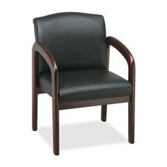Lorell Guest Chair, 23 by 25-1/2 by 33-1/2-Inch, Black/Mahogany Frame |