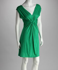 Look what I found on #zulily! Green Knot-Front Dress #zulilyfinds