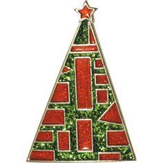 Modernist Triangle Enamel & Glitter Geometric Christmas Tree Pin