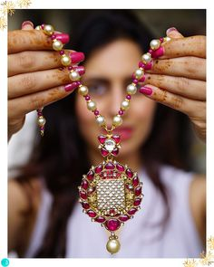 An ode to Hawa Mahal(Wind Palace) in the pink city of Jaipur, this meticulously handcrafted necklace is set with Mozambique rubies, syndicate diamonds with partash work by Jaipur Emerald House Jaipur Fancy Jewellery, Gold Jewellery Design, Bead Jewellery, Temple Jewellery, Beaded Jewelry, Silver Jewellery, Pearl Necklace Designs, Gold Earrings Designs, Collar Indio