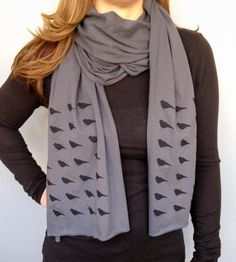 I love this blackbirds scarf.   Grey Blackbirds Jersey Cotton Scarf by Garbella on Scoutmob Shoppe