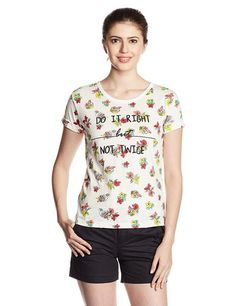 LadyIndia.com # Western Wear, Off- White Color Casual T-Shirts For Girls With Floral Print Work Ladyindia41, Casual Wear, TOPS & SHIRTS, Western Wear, Tops, Tees, Shirts, https://ladyindia.com/collections/western-wear/products/off-white-color-casual-t-shirts-for-girls-with-floral-print-work-ladyindia41?variant=36579746893