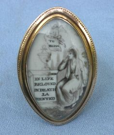 """""""To Bliss / """"In life Beloved, In Death Lamented"""" A Sepia Mourning ring from the 1700s"""