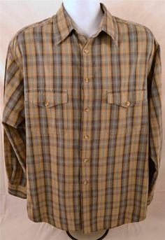 Roundtree & Yorke Outfitters Men's Size Large Long Sleeve 100% Cotton Shirt #RoundtreeYorke #ButtonFront
