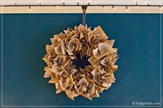 Badgertails ~ Homemaker: How To Make a Book Page Wreath Folded Book Art, Book Folding, Paper Folding, Book Projects, Diy Projects, Diy Paper, Paper Crafts, Book Page Wreath, Craft Night