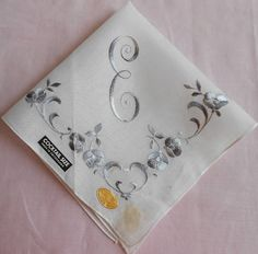 E Monogram Hanky Vintage Gray on White Wedding Handkerchief