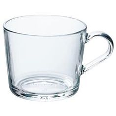 IKEA clear glass, Mug, 24 cl. IKEA series has everything for the table – to be enjoyed for its everyday simplicity or pimped up with colours and accessories. Made from tempered glass that holds both hot and cold beverages.