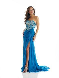 Sweetheart Court Train Blue Chiffon Sheath Column Prom Dress Omm0110