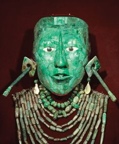 K'inich Janaab' Pakal (603-683 A.D.) - Burial Mask. Carved Jade. Palenque, Mexico. Circa 683 A.D. Pakal was the Ruler of Palenque.