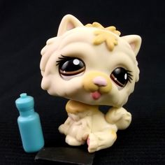 Littlest Pet Shop 1058 Chow Chow Dog LPS Figure HASBRO 2007 Brown eyes Botle