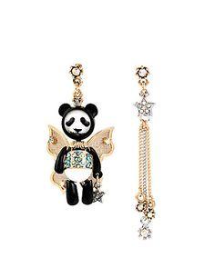 Betsey Johnson Panda Fairy Mismatch Earrings - New Black And White Earrings, Betsey Johnson Earrings, Star Jewelry, Kawaii, Chain Earrings, Silver Stars, Jewelry Accessories, Fashion Jewelry, Fairy