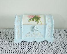 Hand Decorated Shabby Сhic Jewelry Trinkets Box Distressed Blue Decoupage Rose