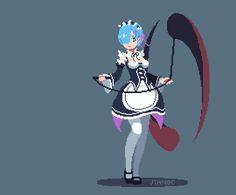 re:zero anime rem gif pixel Fanarts Anime, Manga Anime, Kawaii Anime, Arte 8 Bits, Character Art, Character Design, Pixel Animation, Anime Pixel Art, 8bit Art