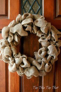 Burlap Wreath - Burlap Projects. Add lace flowers & monogram 'M'