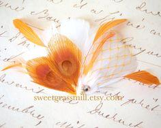 Peacock Fascinator  TANGERELLE  Orange Peacock by sweetgrassmill, $22.00