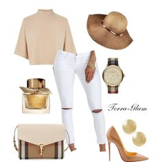 Creme De La Creme by terra-glam on Polyvore featuring polyvore fashion style Warehouse Burberry Christian Louboutin