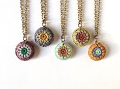 Mini Crocheted Sunburst Pendant: Kelly Green, Gold, Amethyst, Rust, and Mint from A Cup of Green Ginger on Etsy