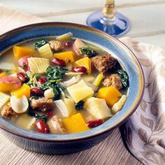 Use any variety of winter squash for this version of the classic Italian vegetable and sausage soup.