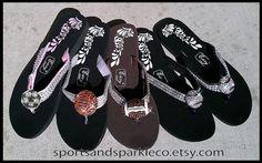 Sparkly Rhinestone Flip Flops with Sports by SportsandSparkleCo, www.facebook.com/sportsandsparkle
