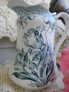 """Antique Aesthetic Movement, Teal Transferware Pitcher """"Parrot Tulips"""" by Colonial Pottery, Stoke On Trent, c. 1891-1910. via Etsy."""