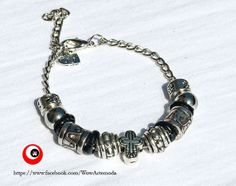 European Style Bracelet Unisex Pandora with silver tone spacer beads, very nice carved cross. Nichel Free - WoWartemoda