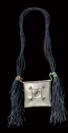 Africa | Tshérot ~ amulet necklace from the Tuareg people of Azawagh, Niger | Silver alloy, iron, leather and wool