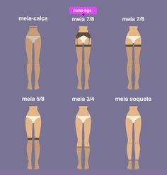 Achei muito boa essa ilustração explicando de maneira bem didáticaas diferenças entre meia-calça, meia 7/8 (com e sem cinta-liga), meia 5/8, meia 3/4 e meia soquete. Porque geralmente algumas pess…