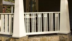 Porch railing can be a good idea because it gives a safe place for kids to not going out from home. Here are some porch railing ideas to make your home more eye catching. Outdoor Stair Railing, Wood Railing, Railing Design, Fence Design, Railing Ideas, Metal Balusters, Craftsman Porch, Craftsman Exterior, Craftsman Style Homes
