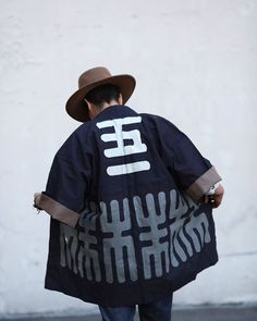 "Vintage Happi Jackets. Traditionally used during festivals to group together families or organizations, they also make a great lightweight jacket. With a different crest and kanji, each jacket is unique. This particular deep indigo happi jacket is for the Kamiya Company, and reads ""5-1"" on the back. Available at kirikomade.com now for $159 under VINTAGE->HAPPI & KENDO. #kirikomade #madeinjapan #japaneseindigo #indigo #vintageclothing #happi #はっぴ"