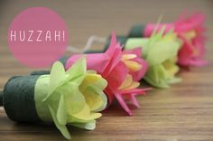 flower poppers. creative use of materials in fun new ways.