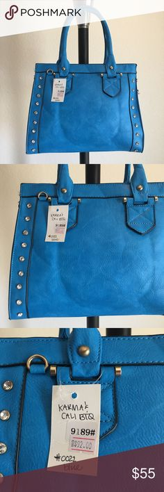"""👜 Blue Beauty handbag / purse 🔥Brand New Boutique Item handbag (brand new with tags) ONLY 1 of this color and style available! By Karma & Cali Boutique 👜 -Color: bright blue colored handbag with studded rhinestone accents, gold hardware, and optional cross body strap -Dimensions: 13"""" length, 10.5"""" height, 4.5"""" width, 7"""" strap drop -Details: 2 interior pouches, 2 zippered pockets  -Materials: soft animal friendly VEGAN LEATHER, easy to clean, creases iron out with use, *cannot be restocked…"""
