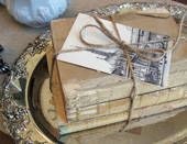 old books tied in twine tea dyed