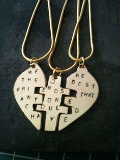 Bff Necklaces, Best Friend Necklaces, Friendship Necklaces, Friend Jewelry, Friend Rings, Sister Jewelry, Couple Jewelry, Three Best Friends, Best Friends Forever