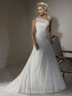 A-line Wedding Dresses with One Shoulder Neckline and Corset Closure