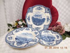 Old Britain Castles-Blue (Made in England) by Johnson Brothers Square Salad,