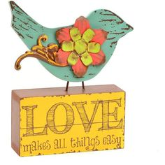 Green Bird Love Statue (¥595) ❤ liked on Polyvore featuring home, home decor, green home decor, bird home decor, bird statue and distressed home decor