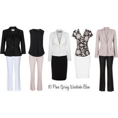 """""""Spring Wardrobe Basic Pieces"""" - start of a capsule with 3 suits, 2 tops."""