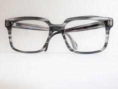 Vintage Men's Grey and Black Marbled Acetate Eye Glasses by OdettesVintage