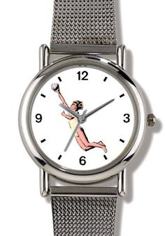 Woman Beach Volleyball Player No2 Playing Volleyball or Volley Ball Theme  WATCHBUDDY ELITE ChromePlated Metal Alloy Watch with Metal Mesh StrapSizeLarge  Mens Size or Jumbo Womens Size  ** Find out more about the great product at the image link. (This is an affiliate link) #BallWatchforMen
