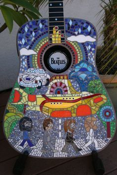 "Ähnliche Artikel wie The Beatles Tribute Glass Mosaic Guitar ~ ""Lucy"" ~ auf Etsy Guitar Painting, Guitar Art, Cool Guitar, Ukulele Art, Guitar Crafts, Guitar Pins, Ringo Starr, The Beatles, Beatles Art"