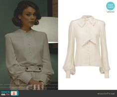 Cristal's white blouse on Dynasty.  Outfit Details: https://wornontv.net/89294/ #Dynasty