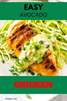 You are going to love this quick and Easy Avocado Chicken.  Delicious grilled chicken in a creamy avocado sauce makes the perfect low carb dinner.  Prepare for yumminess with this keto-friendly and gluten free recipe.  #avocado #chicken #chickenrecipes #lowcarb #easydinner Gluten Free Recipes For Dinner, Healthy Gluten Free Recipes, Low Carb Recipes, Creamy Avocado Sauce, Baked Chicken Recipes, Meal Prep, Meals, Ethnic Recipes, Food