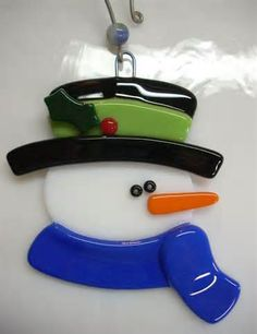 Fused Glass Snowman Ornament Stained Glass Snowman Ornament Glass ...