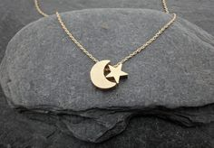 Dainty Necklace Gold Moon and Star Charms by PollyAJewellery, £13.00