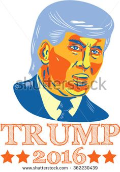 Jan. 14, 2016: Vector illustration of  American real estate magnate, television personality, politician and Republican 2016 presidential candidate Donald John Trump isolated background.  - stock vector #Trump2016 #etching #illustration