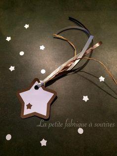 Lot de 6 Etoiles filantes étiquettes cadeaux marron : Emballages cadeaux par la-petite-fabrique-a-sourires