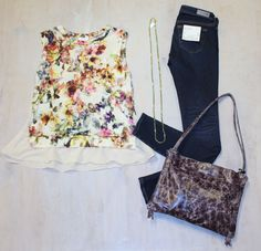 """Thursday Movie Night  Vintage Floral Ruffle Blouse  by Weston $118 Vintage Wash """"The Legging"""" Skinny Jean  by AG Jeans $225 Aged Purple Leather Handbag  by Latico $130 Green Crystal Beaded Necklace  by iSOBEL $158"""